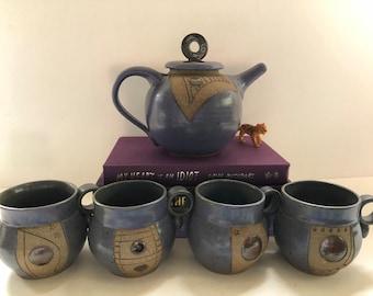 Unique Pottery Tea Kettle with 4 mugs