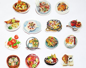 International Food Sticker Pack,  Food Diary Stickers, Handmade Food Dishes Stickers, Meal
