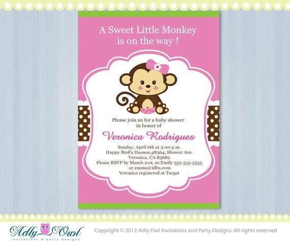 Elegant Pink Lime Green Girl Monkey Jungle Monkeys Baby Shower