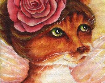 Rose Fairy Cat, Orange Tabby Cat Flower Fantasy Art 8x10 Reproduction Print