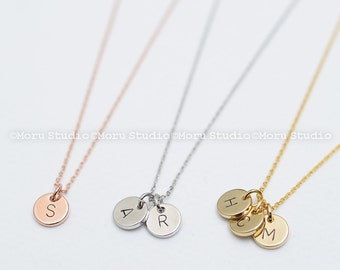 Custom Initial Disc Necklace/ Hand Stamped Letter Necklace, Rose Gold Coin Tag, Personalized Name Necklace, Teen Aunt Grandma Mommy Gift 053