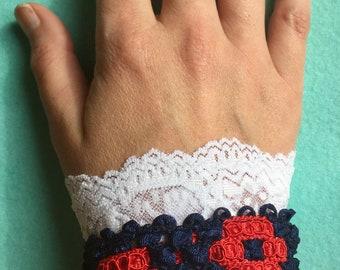 Fishman Donut & Lace Wrist Cuff- Navy Blue