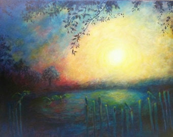 Original Fine Art Acrylic Landscape Painting- Sunrise with Birds - 16x20 Inches