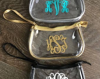 Personalized Clear Makeup Bag - Clear Cosmetic Bag - Travel Bag - Clear Stadium Purse