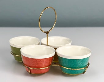 Vintage Melmac, Raffia Ware Condiment, Melmec Chip and Dip Serving Dishes with Gold Tone Holder, Raffiaware, Thermoware, Thermo Ware