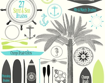 Sand & Sea Brush Collection - 57 Photoshop .abr Brushes of Surf, Sand, Ocean, and Beach themed Designs -300dpi Instant Download - ABR Files
