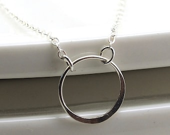 Simple Sterling Silver Necklace, Eternity Necklace Sterling Silver Hammered Circle Necklace Sterling Silver Hoop Necklace Everyday Jewelry
