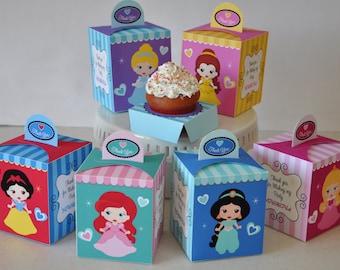 Princess Party pdf printable cupcake box / favor box featuring Snow White, Ariel, Jasmine, Sleeping Beauty / Aurora, Cinderella, Belle