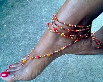 Barefoot Sandal, Beaded bottomless sandal, yoga sandals, barefoot beach sandals, Ethnic jewelry, Boho sandals