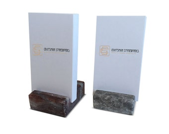Vertical business card holder made from black absolute granite colourmoves