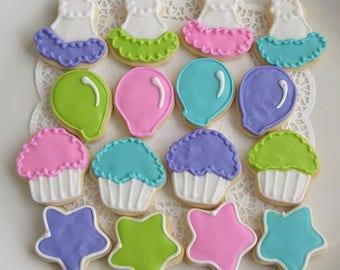 Mini Birthday Decorated Cookies - Birthday Cookie Gift - 16  Cookies