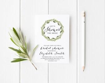 Permet de la mariée Laurier Floral Bridal Shower Party Invitation florale de Laurier Party Invitation Téléchargement instantané Shower invitation de mariage de douche