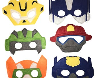 TRANSFORMERS RESCUE BOTS Handcrafted Felt mask set - 6 masks - Birthday party fillers/favors/supplies