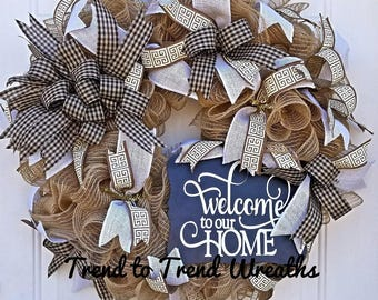 Welcome to our Home Wreath, Welcome Wreath, Front Door Wreath, Front Door Decor,Mesh Wreath,Housewarming Wreath,Everyday Wreath, Home Wreath