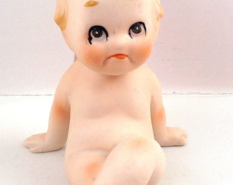 Kewpie Piano Baby Figurine Porcelain Bisque Big Eyes Cute Face Ceramic Vintage