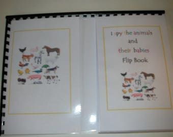 I spy the animals and there babies flip book game aids  recognition