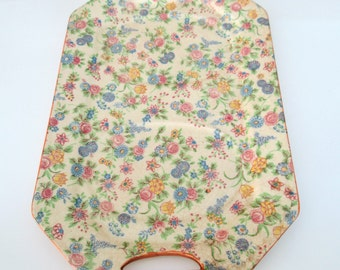 Floral Chintz Ceramic Tray Platter // Traditional Home Decor Made in Japan