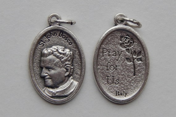 5 Patron Saint Medal Findings - St. John Bosco, Die Cast Silverplate, Silver Color, Oxidized Metal, Made in Italy, Charm, Drop