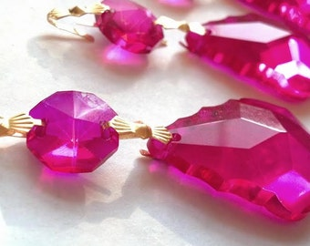 5 Fuchsia French Cut Chandelier Crystals Hot Pink 38mm