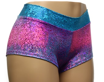 Shiny Spandex Holographic Tie Dye Mosaic Foil Booty Shorts. Mid Rise and Cheeky!  Rave, Festivals, Gym, Dance, Cheer, Pole Costumes...