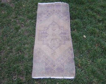 Turkish Rug 1x3 Beige Wool Pile Small Vintage Rug Hand Knotted Semi Antique Area Rug -EMMY0103