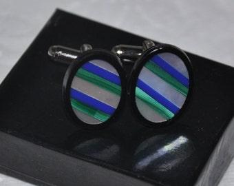 Silver Cuff Links, Mother of Pearl Cufflinks, Gemstone Cuff Links, Wedding Cuff Links, Blue Agate, Malachite