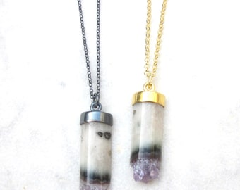 Amethyst necklace, cylinder slice necklace, crystal geode pendant, February birthstone, oxidized gold plated sterling silver stone necklace