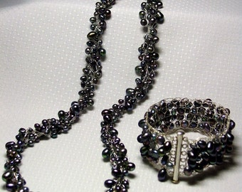 Ravens Wing Freshwater Pearl Crocheted Wire Set