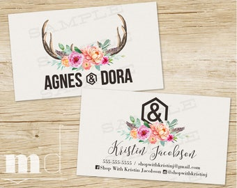 Custom Business Cards Agnes & Dora, Agnes and Dora Business Card, Watercolor Rustic Deer Antlers, Personalized Marketing, Branding PRINTABLE