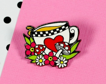 SALE Alice 'Tea' Enamel Pin // Alice in Wonderland lapel pin, hard enamel pin // EP127