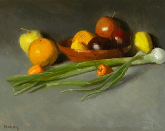 Still life painting - Fruit in Mexican Bowl