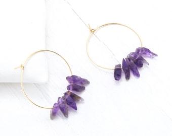 Amethyst Earrings Raw, Birthstone Hoop Earrings, February Birthday Gift, Large and Small Hoops, Healing Crystal Jewelry, Raw Stone Earrings