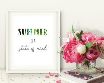 Summer Is a State of Mind Printable Wall Art, Instant Download, Palm Tree Beach Print, Summer Quote, Tropical, Gallery Wall, 8x10