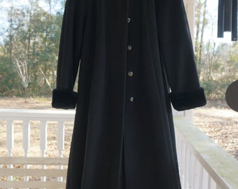 1990's heavy long black coat. 100% wool. fully lined. fake fur  alittleyellowcottage