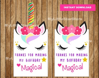 Unicorn Lollipop Holder, Printable Unicorn Gift Favors tags, Unicorn Party Favors Instant download