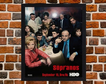 Framed The Sopranos TV Series Poster A3 Size Mounted In Black Or White Frame (Ref-2 Tony Soprano)