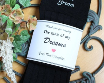 Sock wrapper Father of the Groom label, card stock, Wedding Socks LABEL, Thank you for raising man of my dreams, Socks are NOT included