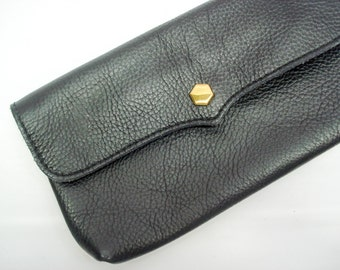 Beautifully simple black leather clutch