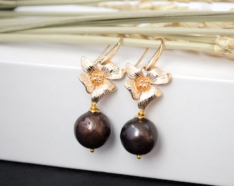 Dangle earrings kasumi-like pearl Gold flower earrings with pearl Brown pearl earrings Pearl jewelry Gift for woman  Mother's day gift