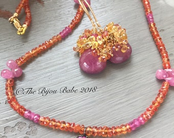 Pink and Orange Sapphire Necklace and Earring Set