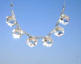 6 Pcs of 14mm AAA Crystal Quartz Faceted Fancy Star Briolette 3 matched pair