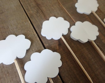 Cloud Cupcake Toppers, Baby shower cupcake toppers, Sky themed party