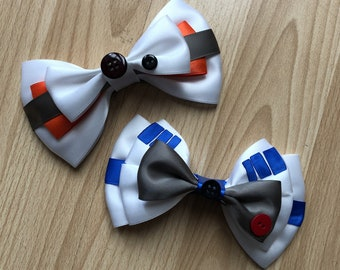 Star Wars Droid inspired Hair Bows, featuing BB-8 and R2-D2