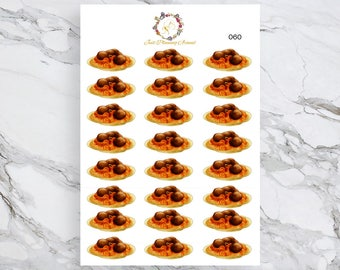 Spaghetti Stickers, Food Stickers, for use with  Erin Condren, Happy Planner