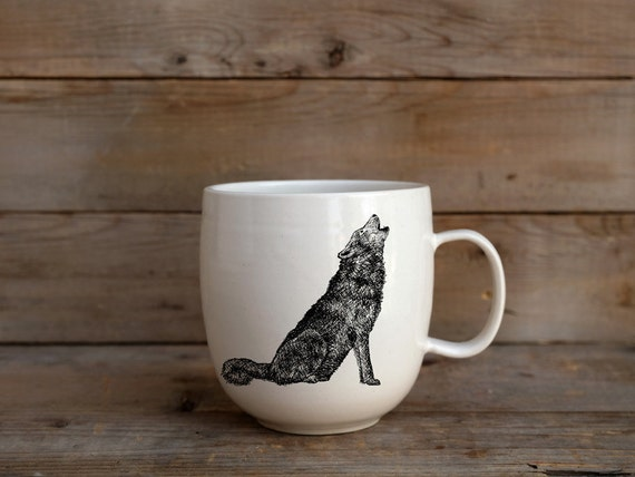 Handmade Porcelain coffee mug with wolf drawing Canadian Wildlife collection