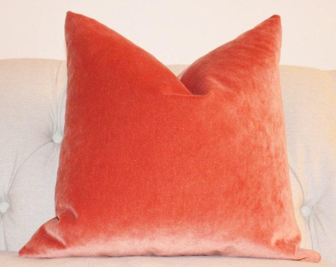 Orange Pillow - Orange Velvet Pillow Cover -Tangelo Solid Pillow Cover -  Orange Decorative Pillow - Throw Pillow - Pumpkin Orange