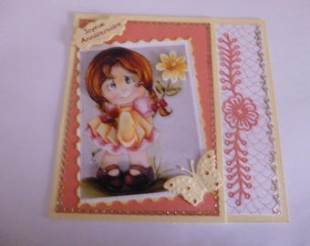 "2017152 child birthday card ""girl offers a flower"""