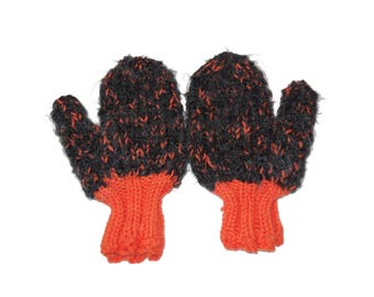 Child Mittens Orange and Black