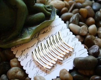 10, 50 or 100 Curved Sterling Silver Plated or (NEW ADDITION) Gold Plated Tube Beads (26mm X 3.2mm)