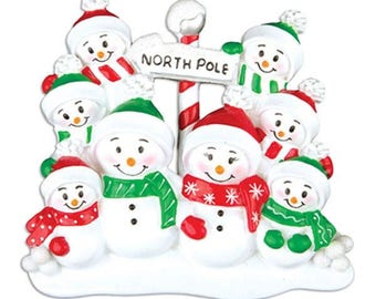 North Pole Family of 8 Personalized Christmas Ornament - Personalized Names
